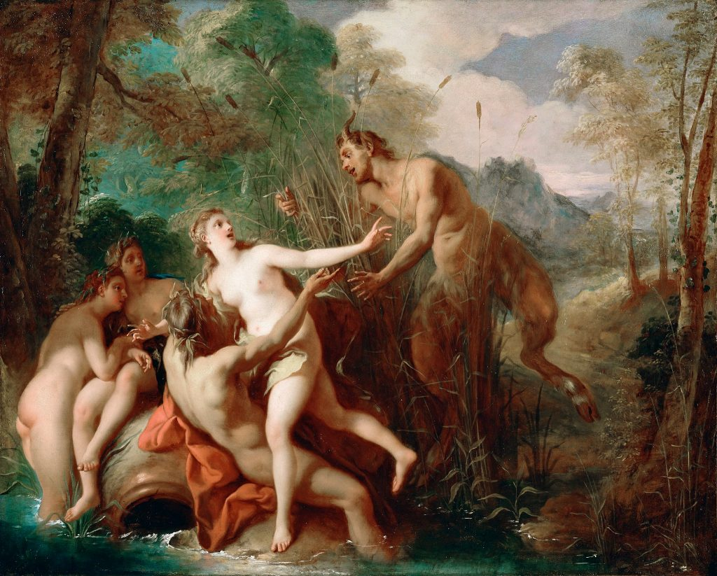 Oil Painting by Jean François de Troy. Title:  Pan and Syrinx [circa 1722-24]